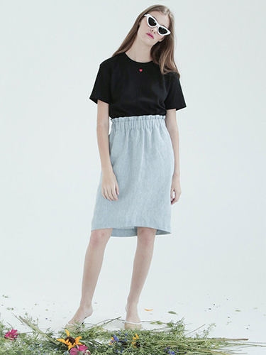 [FINAL SALE] [SELF-LOVE] PEARL RUFFLED WAIST LINEN SKIRT