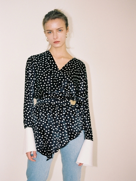 NORA POLKA DOT SILK BLOUSE
