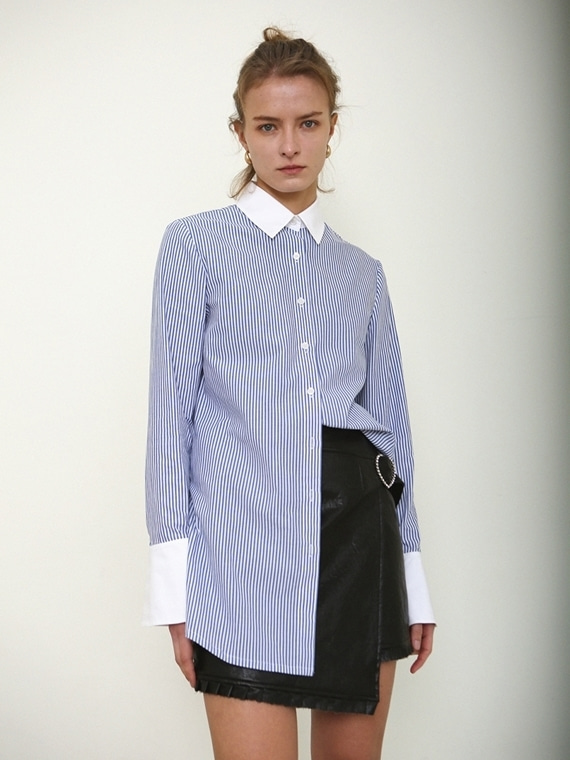 ANNA COTTON SHIRT_ BLUE STRIPE