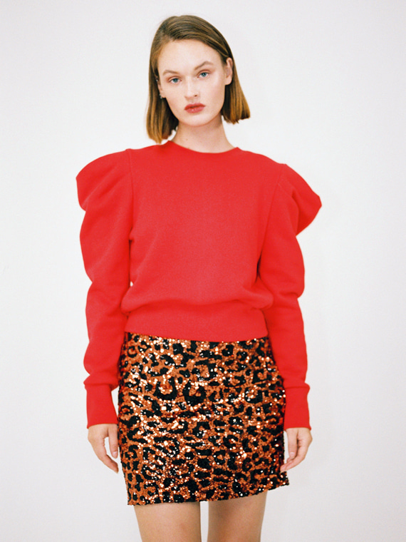 [REFURB - FINAL SALE] KATE PUFF SHOULDER SWEATSHIRT_RED
