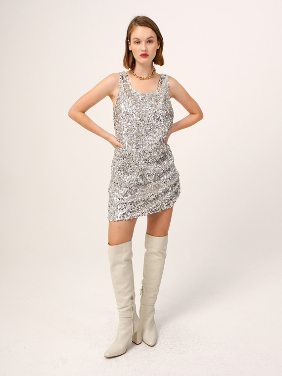 RACHEL SEQUINED SLEEVELESS MINI DRESS