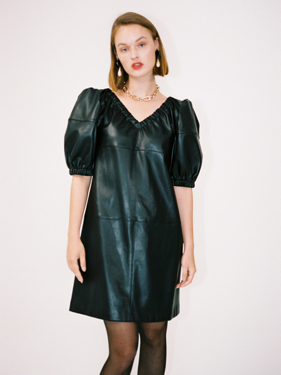 MOLLY FAUX LEATHER PUFF DRESS