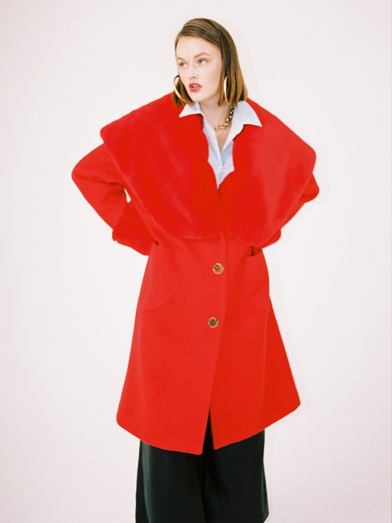[FINAL SALE] LUCY BIG FUR COLLAR COAT_RED
