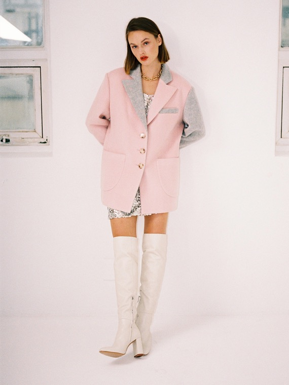 ALEXA TWO-TONED COAT JACKET_PINK