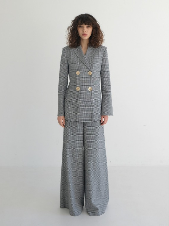 MEGAN LINEN WIDE PANTS_CHECK