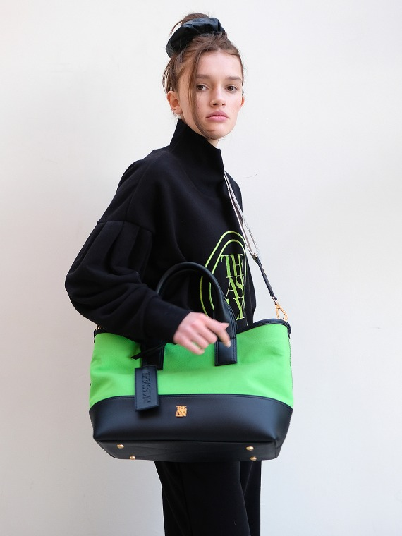 MADDISON TOTE BAG LARGE_NEON GREEN